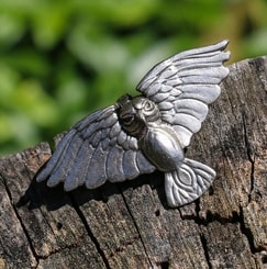 Flying Owl, pewter pendant