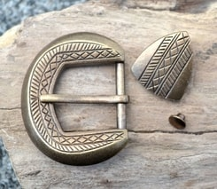 HISTORICAL BELT BUCKLE and STRAP END, brass colour