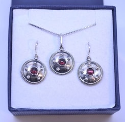 ANTICA ROMA, sterling silver jewelry set, garnet