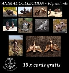 ANIMAL JEWELS, Wholesale Lot of 10 pcs with leather cords
