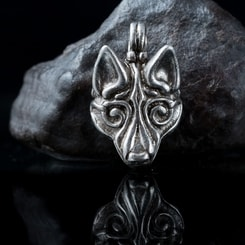 Wolf's head, pendant, tin