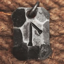 LAGUZ, forged iron rune pendant