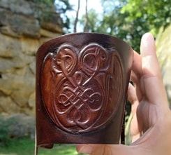 CELTIC KNOTTED BIRDS, leather wristband