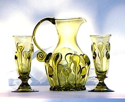 BOHEMIA, green glass set, 2 + 1