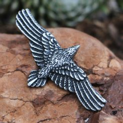 Flying CROW - Raven, tin pendant