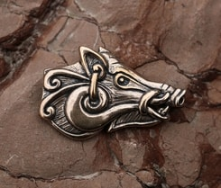 Celtic Boar - head, bronze pendant