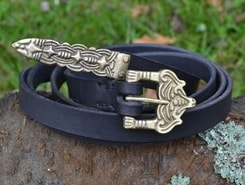 BORRE, leather viking belt, black