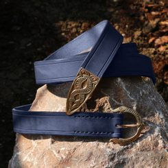 VIKING BELT, Borre Beast, leather bronze Blue