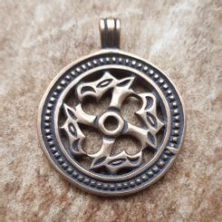 SLAVIC ANIMAL SHAPED SWASTIKA, bronze pendant - large