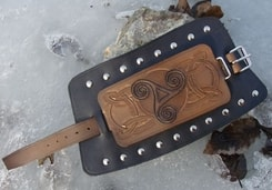 CELTIC TRISKEL, leather bracelet, hand carved