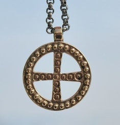 SLAVIC SOLAR CROSS, Empire of Great Moravia, bronze pendant
