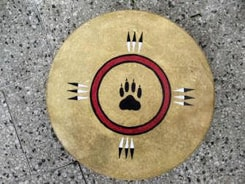 SHAMAN INDIAN DRUM, WOLF TRACK and EAGLE FEATHERS 40 cm