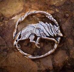 WOLF, costume brooch, bronze