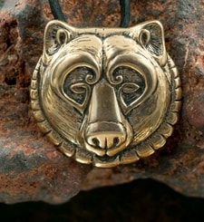 BEAR, head, bronze pendant