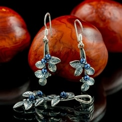 Blueberries, jewellery set, silver