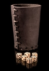 LEATHER DICE CUP black and 6 bone Dice
