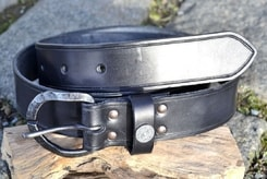 GOTLAND, leather belt, forged buckle, silver viking stud