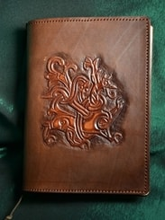 LEATHER BOOK CASE, viking dragon