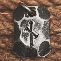NAUTHIZ, forged iron rune pendant