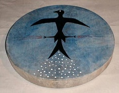 SHAMAN INDIAN DRUM, THUNDER BIRD 40 cm