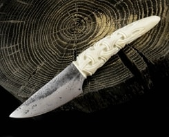 JOKUL, hand forged knife, carved antler