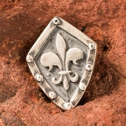 Fleur de Lis in the shield, pendant, silver