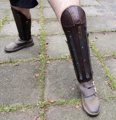 Heavy Leather Greaves Reinforced with Steel Strips, with knee protection, price for the pair