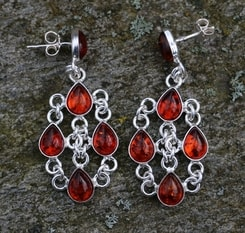 MARINA, amber, silver earrings