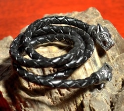 VIKING WOLF BRAIDED LEATHER BOLO