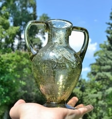 ANCIENT AMPHORA, ice glass, green glass