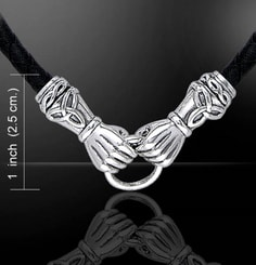 CLADDAGH HANDS, silver necklace, Ag 925 and leather