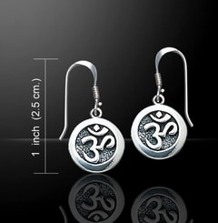 AUM, silver sterling earrings, Ag 925