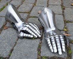 MEDIEVAL FINGER GAUNTELTS, for sword fight, polished, czech top quality