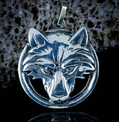 Wolf's head in a ring, sterling silver pendant