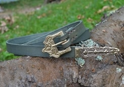 BORRE, leather Viking Age belt, green
