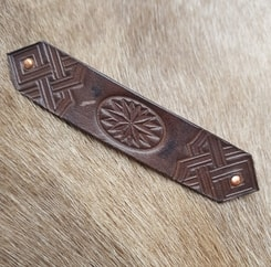 ART DECO, leather hair CLIP, brown