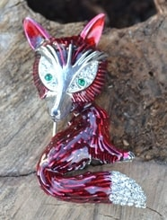FOX, hand painted costume brooch