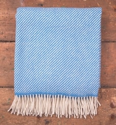 Blue & White Stripe, Merino blanket, Ireland