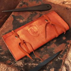 Leather Case for Throwing Knives, brown