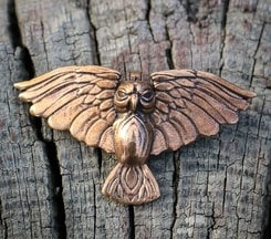 Flying Owl, pendant, bronze