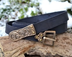 MORAVIA MAGNA, Slavic leather belt, tin, black