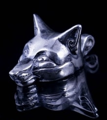 Celtic Fox, head, pendant, sterling silver