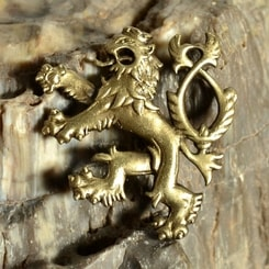 HERALDIC TWO-TAILED LION, pendant, brass plated