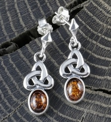 CELTICA, amber, earrings, sterling silver