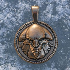 TRIGLAV Slavic God, bronze pendant