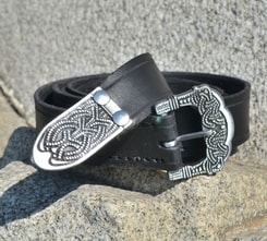 Viking Belt, Gokstad, tin, black leather