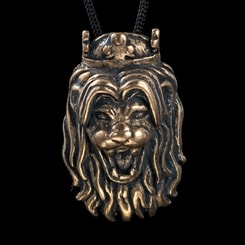 Lion's Head, bronze pendant