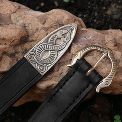 VIKING BELT, Borre Beast, leather bronze Black