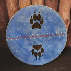 SHAMAN INDIAN DRUM, WOLF TRACKS 40 cm