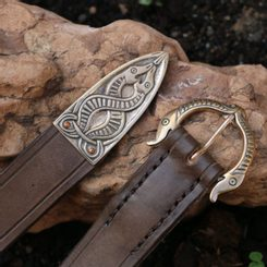 VIKING BELT, Borre Beast, leather bronze